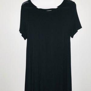 ACEMI Women's Long Sleeve Semi Sheer Black Tunic